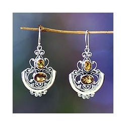 Sterling Silver 'Balinese Goddess' Citrine Dangle Earrings Indonesia)