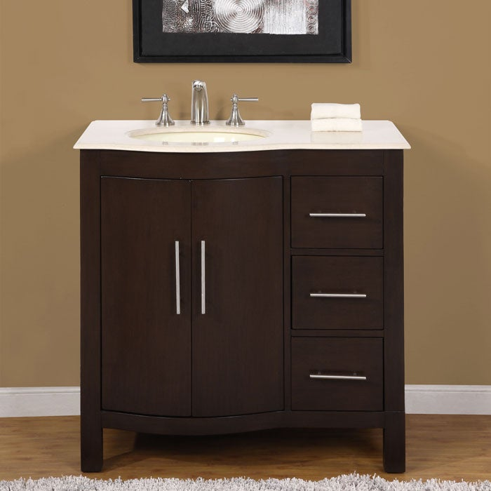 Silkroad Exclusive Natural Stone Countertop Bathroom Single Sink Cabinet Lava