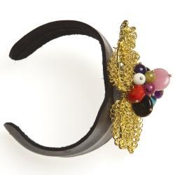 Goldtone Quartz, Turquoise and Chalcedony Floral Cuff Bracelet (Thailand)