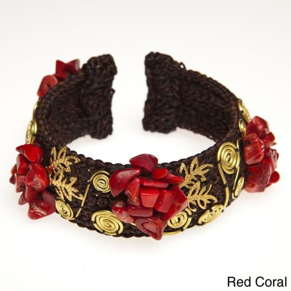Gemstone Brass Spiral Cuff Bracelet (Thailand)