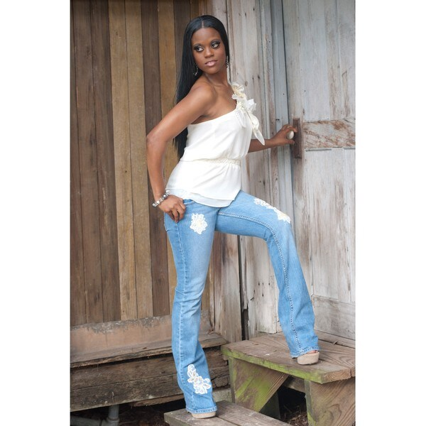 Distressed Blue Jeans with Lace Patches