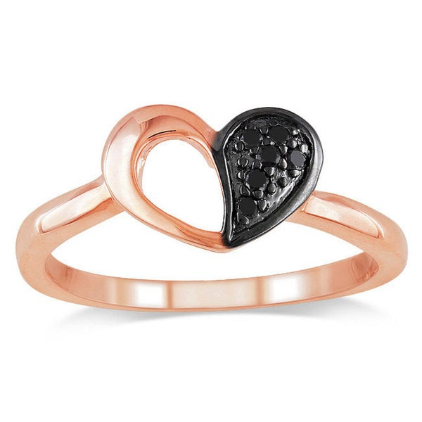 Haylee Jewels Pink Sterling Silver Black Diamond Heart Ring