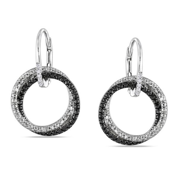 Miadora Sterling Silver White Diamond Dangle Earrings