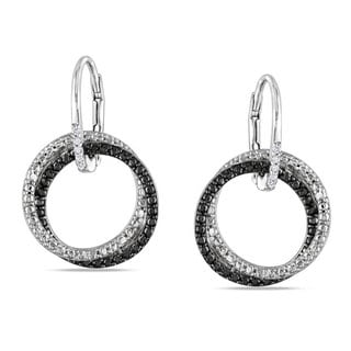 M by Miadora Sterling Silver White Diamond Dangle Earrings
