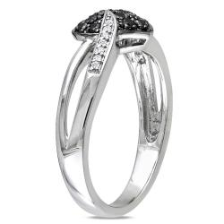 M by Miadora Sterling Silver 1/3ct TDW Black and White Diamond Heart Ring (H-I, I2-I3)