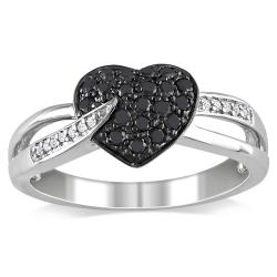 Miadora Sterling Silver 1/3ct TDW Black and White Diamond Heart Ring (H-I, I2-I3)