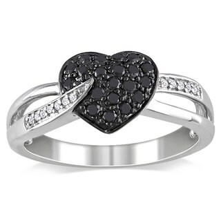 Miadora Sterling Silver 1/3ct TDW Black and White Diamond Heart Ring (H-I, I2-I3)