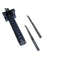 Defender Carbon Steel Ninja Sword with 2 Small Knives