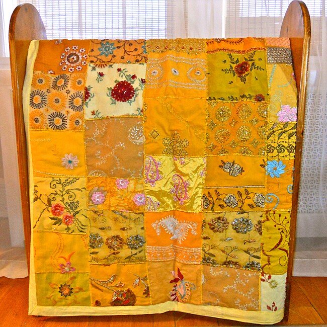Yellow Vintage Sari Patch Throw (India)