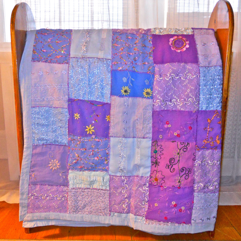 Lavender Blue Vintage Sari Patch Throw (India)