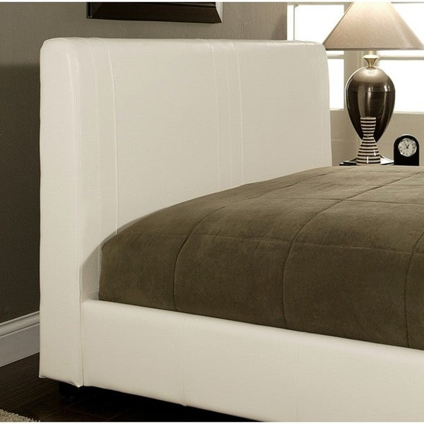 Abbyson Living Malibu White Bi-Cast Leather Queen-Size Bed