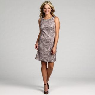 Jessica Howard Women's Taupe Beaded Neck Dress