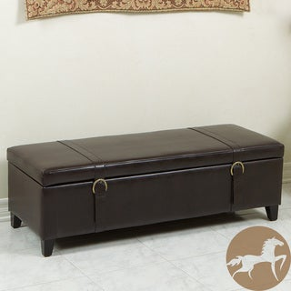 Christopher Knight Home Leather Storage Ottoman with Straps