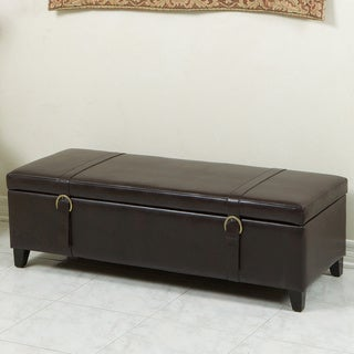 Christopher Knight Home Brown Bonded Leather Storage Ottoman Bench with Straps