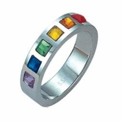 High-Polish Stainless-Steel Multicolored Faux Stone Gay Pride Ring
