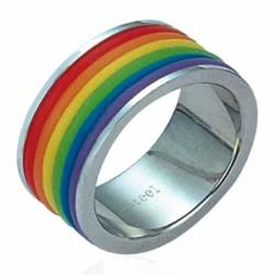Stainless Steel Rainbow Enamel Gay Pride Ring