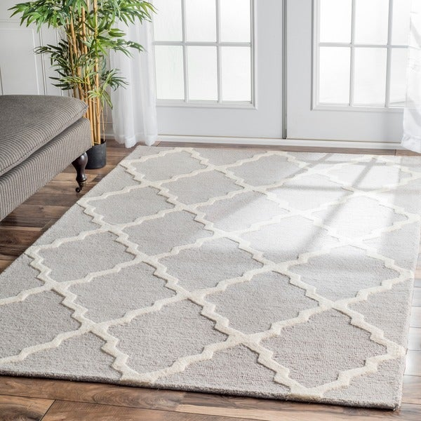 "Hand-Hooked Alexa Moroccan Trellis Petit-Point Wool Rug (8'6"" x 11'6"")"