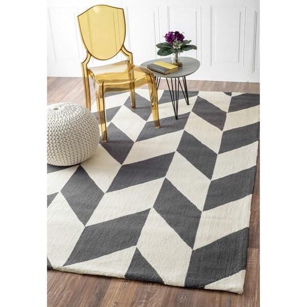 Handmade Chevron Ivory/Gray Optical Illusion Wool Rug (7'6 x 9'6)