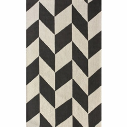 Handmade Chevron Ivory/Gray Optical Illusion Wool Rug (7'6 x 9'6)