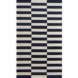 nuLOOM Handmade Stripes Navy Wool Rug (3'6 x 5'6)