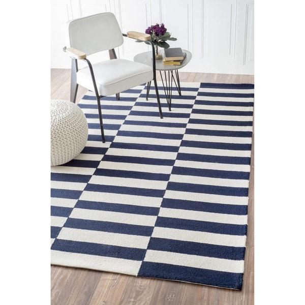 nuLOOM Handmade Stripes Navy Wool Rug (7'6 x 9'6)