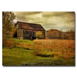Lois Bryan 'Old Barn on Stormy Afternoon' Medium-Sized Canvas Art