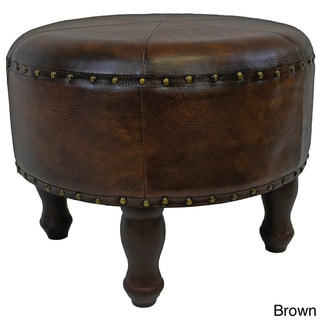 International Caravan Faux Leather Medium Round Stool