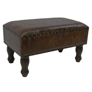 International Caravan Faux Leather Rectangular Stool