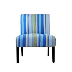 Portfolio Niles Sea Blue Stripe Armless Chair (Set of 2)