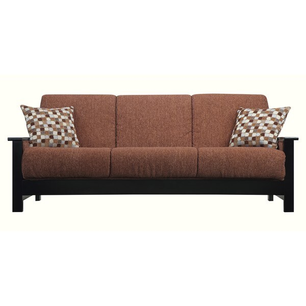 Portfolio Belfry Convert-a-Couch Brown Chenille Exposed Black Wood Arm Futon Sofa Sleeper