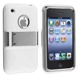 White with Chrome Stand Snap-on Case for Apple iPhone 3G/ 3GS