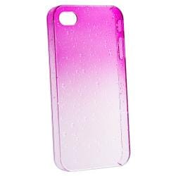 Clear Hot Pink Waterdrop Snap-on Case for Apple iPhone 4/ 4S