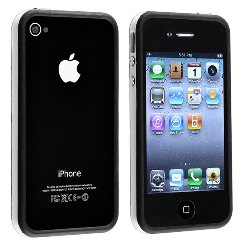 White/ Black Bumper TPU Rubber Skin Case for Apple iPhone 4/ 4S