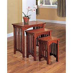 Mission Style Oak Nesting End Tables (Set of 3)