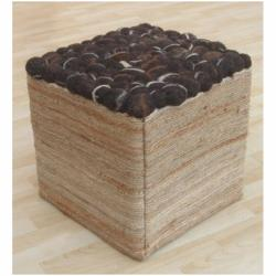 nuLOOM Handmade Casual Living Indian Espresso Pebbles Pouf