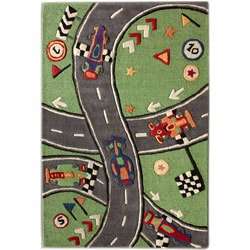nuLOOM Handmade Kids Race Track New Zealand Wool Rug (5' x 7')
