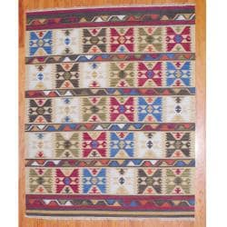 Indo Hand-Knotted Kilim Geometric Ivory-and-Green Wool Area Rug (8' x 10')