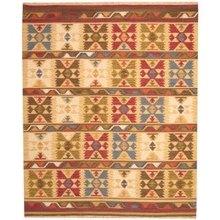 Herat Oriental Indo Hand-woven Kilim Geometric Ivory/ Green Wool Area Rug (8' x 10')