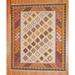 Indo Hand-knotted Kilim Ivory and Rust Wool Rug (8 x 10)