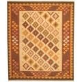 Herat Oriental Indo Hand-woven Kilim Ivory/ Rust Wool Area Rug (8' x 10')