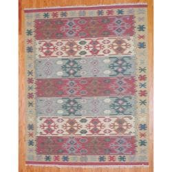 Indo Hand-knotted Kilim Green and Red Wool Rug (8 x 10)