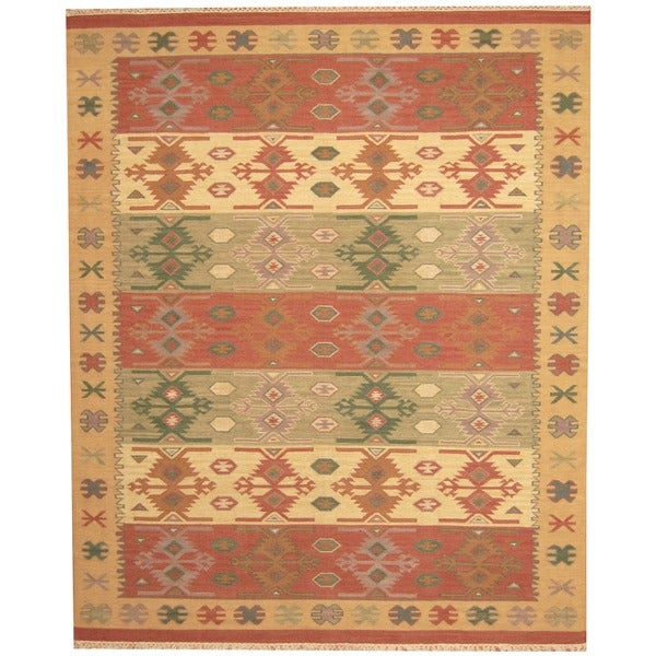 Herat Oriental Indo Hand Woven Kilim Green Red Wool Area