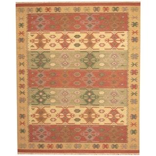 Herat Oriental Indo Hand-woven Kilim Green/ Red Wool Area Rug (8 x 10)