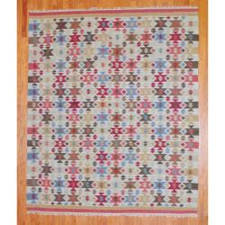 Indo Hand-knotted Kilim Ivory and Green Wool Rug (8 x 10)