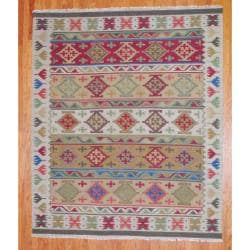 Indo Hand-Knotted Kilim Traditional Ivory-and-Green Wool Area Rug (8' x 10')