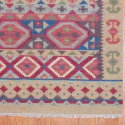 Indo Hand-knotted Kilim Blue and Red Wool Rug (8 x 10)