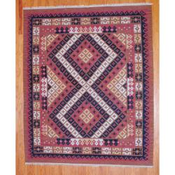 Indo Hand-knotted Kilim Rust and Black Wool Rug (8 x 10)