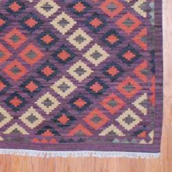Indo Hand-knotted Kilim Beige and Purple Wool Rug (8 x 10)
