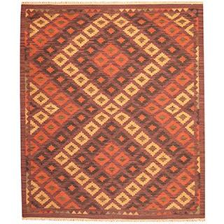 Herat Oriental Handwoven Indo Kilim Beige/ Purple Wool Rug (8' x 10')