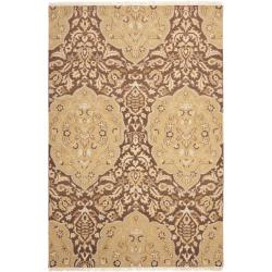 Sumak Flatweave Heirloom Brown and Gold Wool Rug (4 x 6)